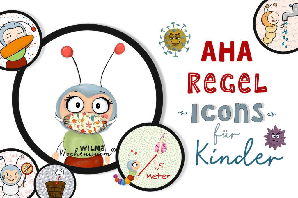 AHA-Regel Icons für Kinder kostenlos Wilma Wochenwurm Virus Co