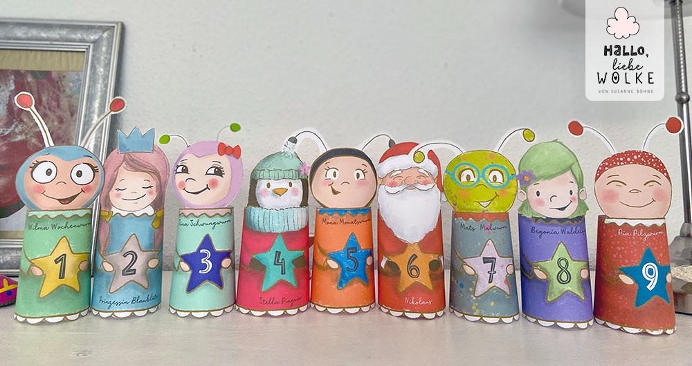 Adventskalender Wilma Wochenwurm von Susanne Bohne Vorlage ausdrucken DIY kostenlos Kinder basteln Kindergarten Mats Malwurm Kita