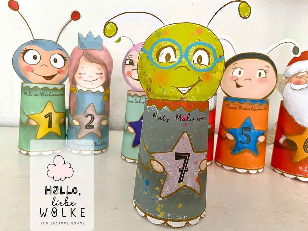 Adventskalender Wilma Wochenwurm von Susanne Bohne Vorlage ausdrucken DIY kostenlos Kinder basteln Kindergarten Mats Malwurm