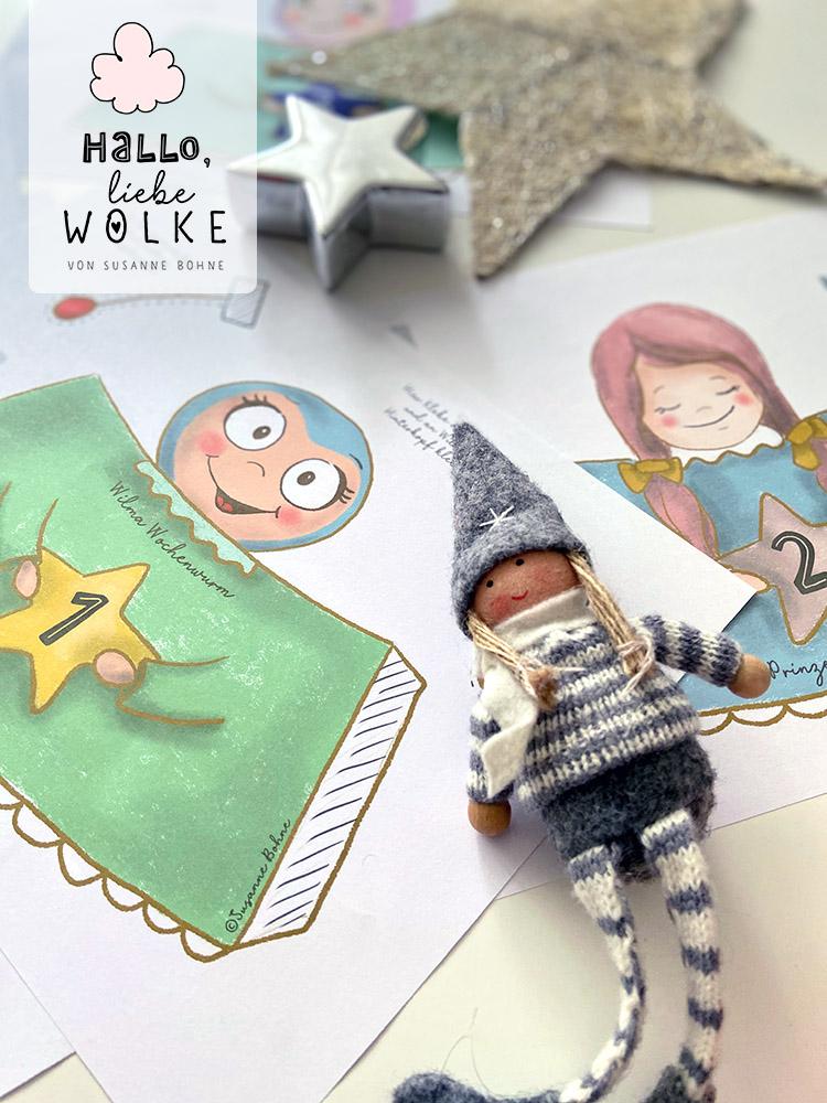 Adventskalender Wilma Wochenwurm von Susanne Bohne Vorlage ausdrucken DIY kostenlos