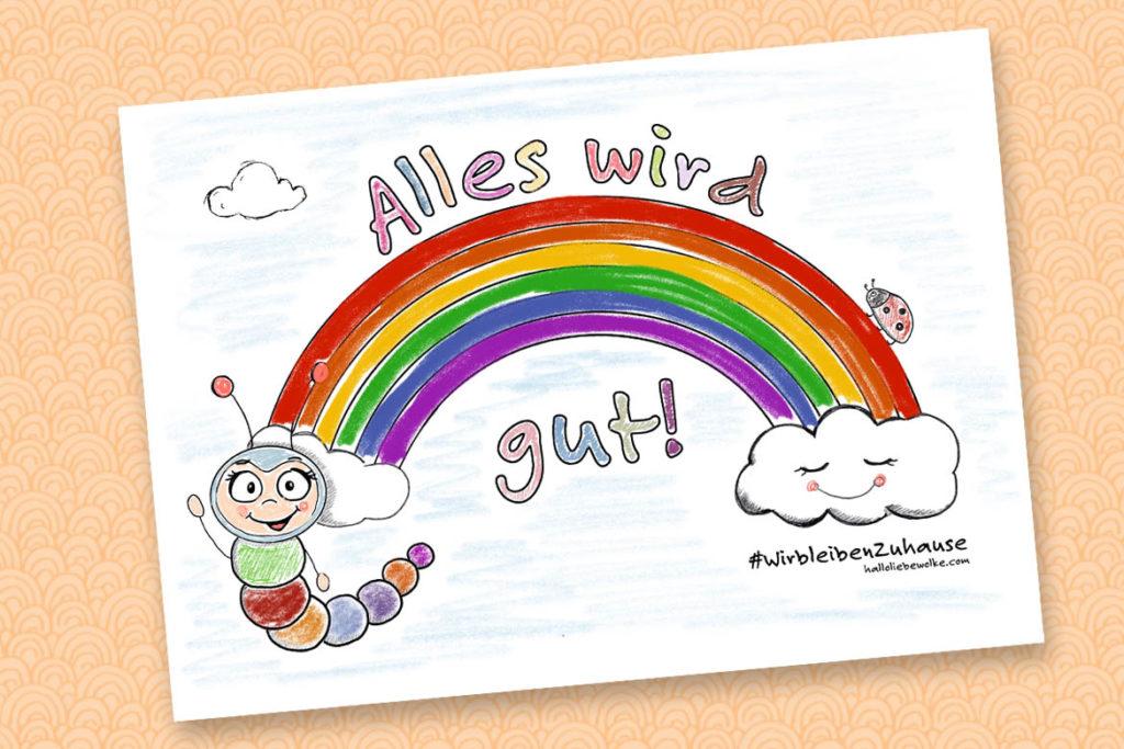 Alles wird gut Ausmalbild Corona Regenbogen Fensterbild Wilma Wochenwurm