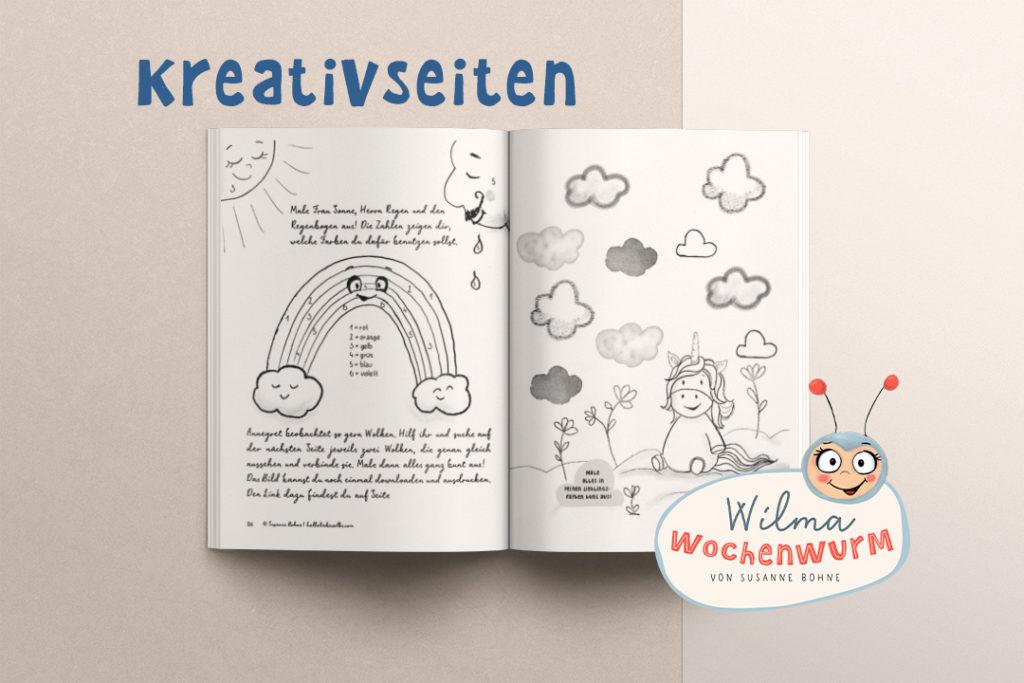 Ausmalbild Annegret Einhorn und der Regenbogen - wie entsteht ein Regenbogen von Wilma Wochenwurm (c) Susanne Bohne