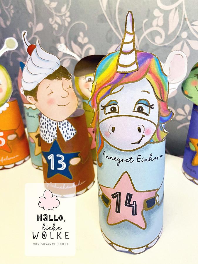Einhorn Adventskalender Wilma Wochenwurm Kinder Basteln DIY Advent