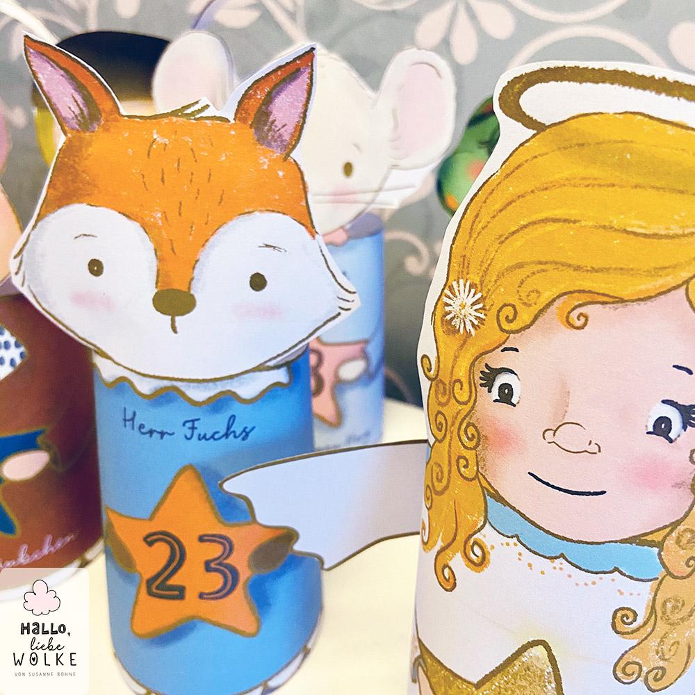 Engel Adventskalender Fuchs Wilma Wochenwurm Kinder basteln selbstmachen Papier download ausdrucken umsonst gratis kostenlos