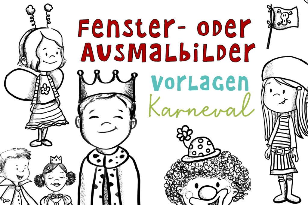 Malvorlagen für Karneval Fensterbilder Ausmalbild Basteln Karneval Fasching Kinder Kita Kindergarten kostenlos Freebie drucken download Wilma Wochenwurm