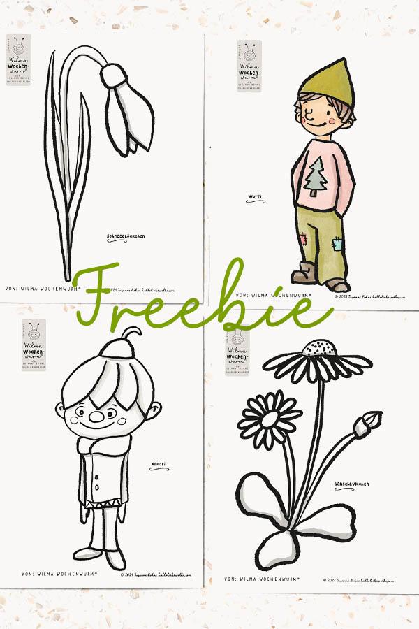 Frühling Fensterbilder Kinder Vorlagen Download kostenlos von Susanne Bohne