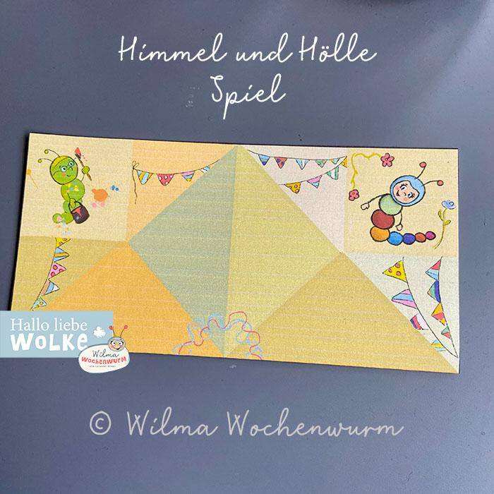 Himmel oder Hölle Spiel Basteln Anleitung Druckvorlage PDF kostenlos Kinder Kita Kindergarten Wilma Wochenwurm aus Papier Spruch falten beschriften