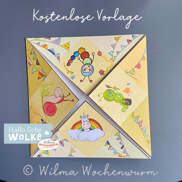 Himmel oder Hölle Spiel Download Basteln Anleitung Druckvorlage PDF kostenlos Kinder Kita Kindergarten Wilma Wochenwurm Papier falten Sprüche