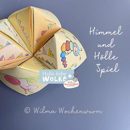 Himmel und Hölle Spiel Basteln Anleitung Druckvorlage PDF kostenlos Kinder Kita Kindergarten Wilma Wochenwurm aus Papier Spruch beschriften
