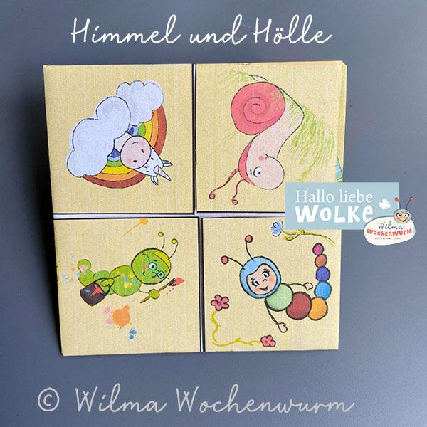 Himmel und Hölle Spiel Spruch Spielregeln Anleitung zum Ausdrucken Origami Papierfalten kostenlos Wilma Wochenwurm Vorschule