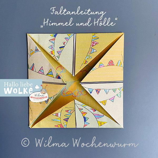 Himmel und Hölle Spiel falten DIN A4 faltspiel Basteln Vorlage ausdrucken PDF kostenlos Kinder Kita Kindergarten Wilma Wochenwurm Grundschule falten