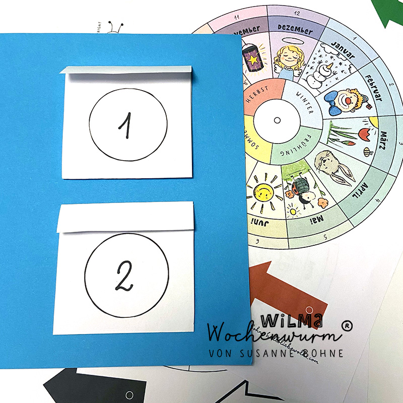 Jahresuhr basteln Kinder Vorlage Kindergarten Lapbook Jahreskreis