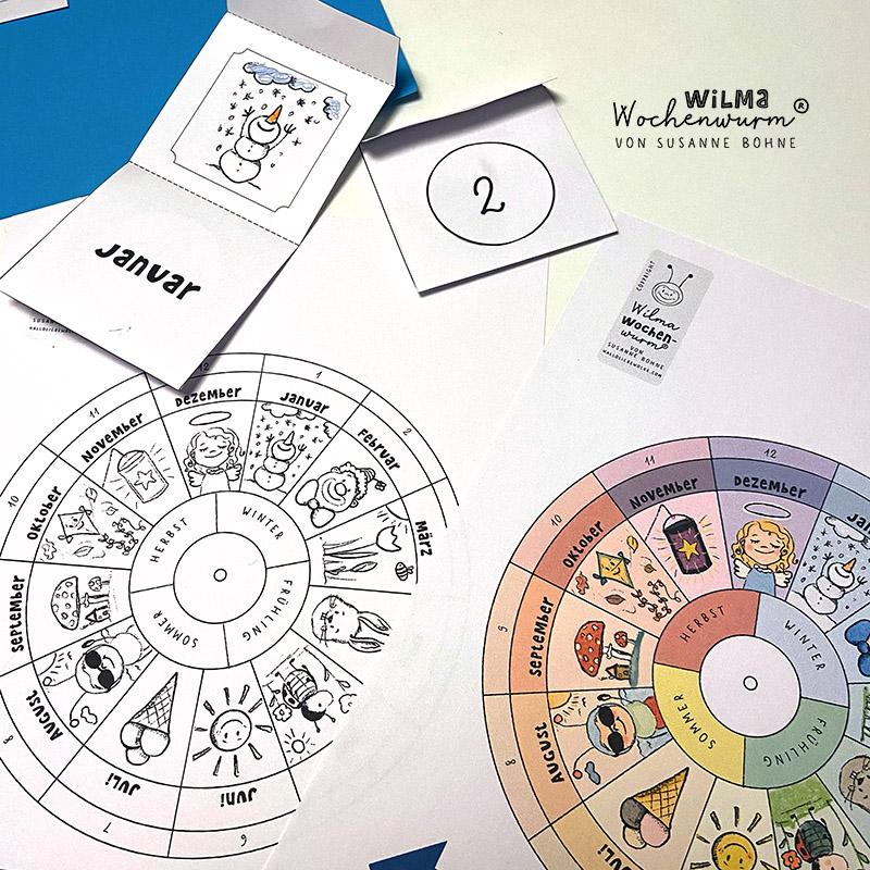 Jahresuhr basteln für Kinder Vorlage Kindergarten Lapbook Kita Grundschule Jahreskreis Monate