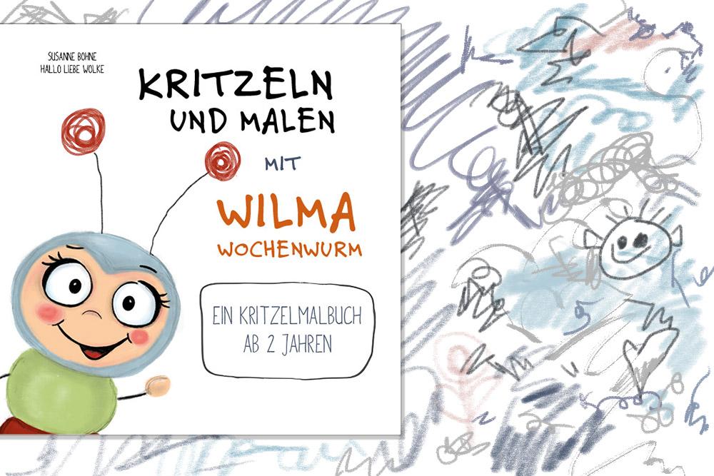 Kritzeln und malen mit Wilma Wochenwurm_Ein Kritzelmalbuch für Kinder ab 2 Jahren_Hallo liebe Wolke