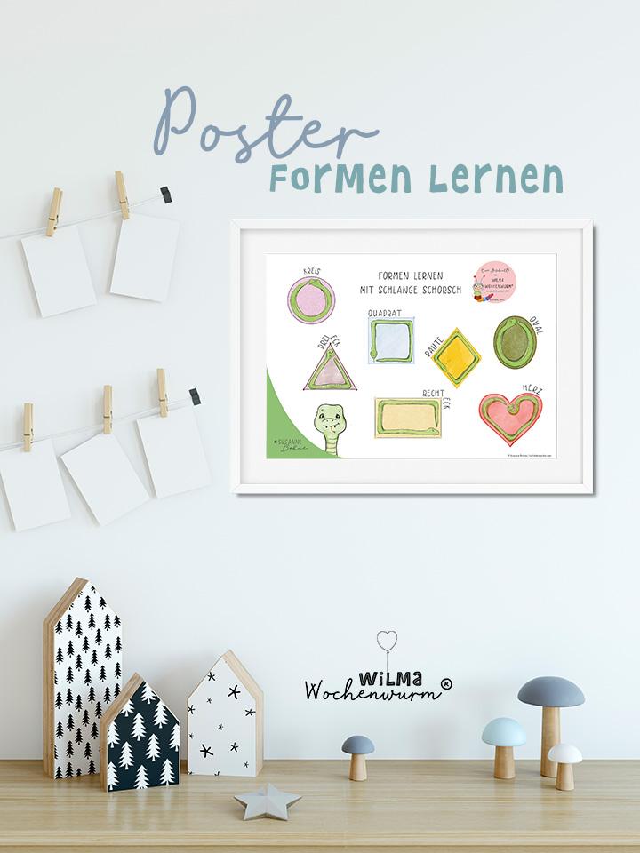 Lerngeschichten mit Wilma Wochenwurm Das wurmstarke Vorschulbuch Susanne Bohne Poster Formen lernen