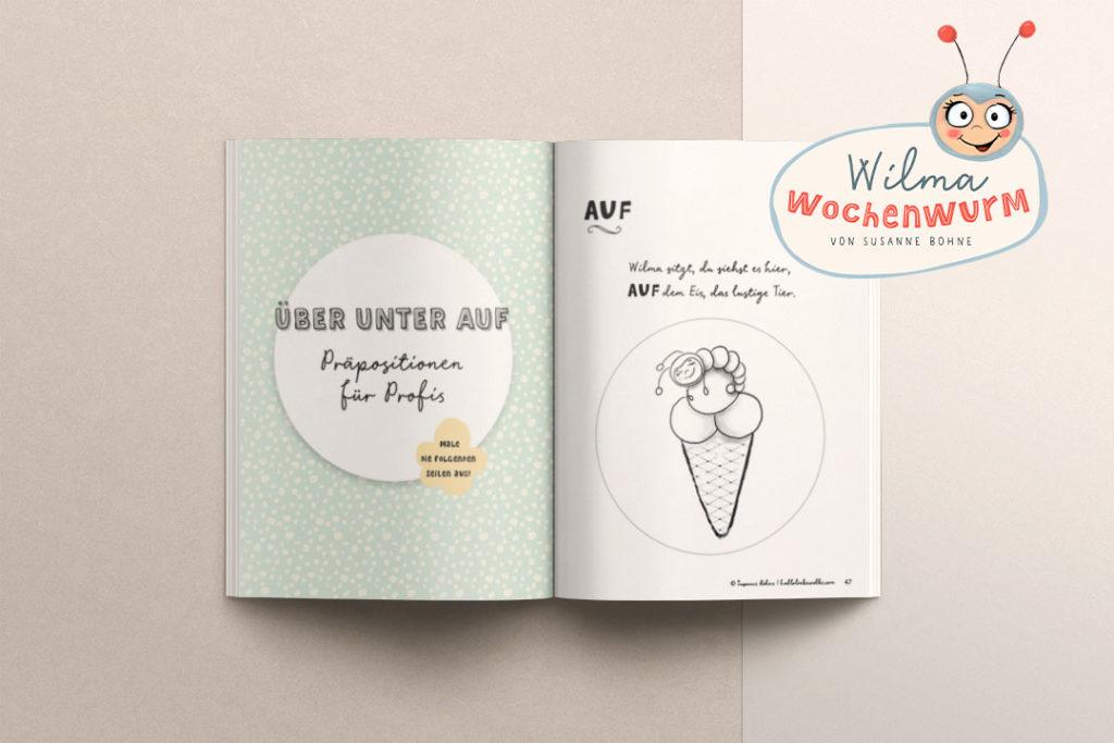 Lerngeschichten mit Wilma Wochenwurm Sommer Mupf das Müllmonster wurmstarke Sommerbuch Präpositionen Vorschule Sprachförderung