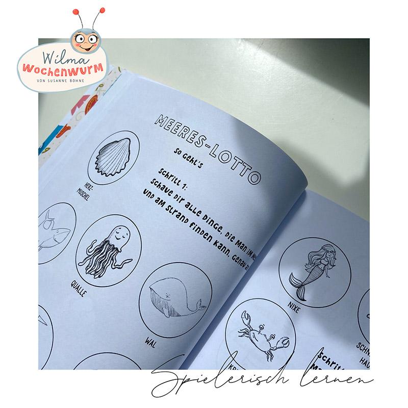 Lerngeschichten mit Wilma Wochenwurm das Wurmstarke Sommerbuch Meeres Lotto Spiel (c) Susanne Bohne
