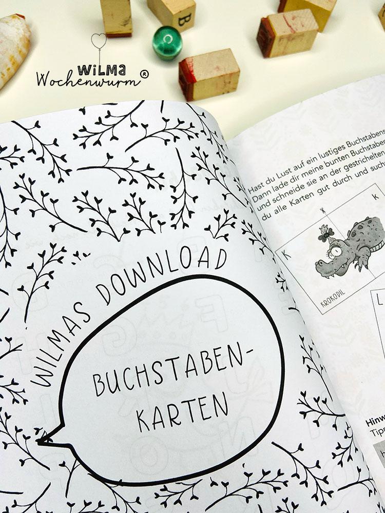 Lerngeschichten mit Wilma Wochenwurm das wurmstarke Vorschulbuch Buchstaben lernen ABC Buchstabenkarten Download Kita Kindergarten Grundschule Susanne Bohne