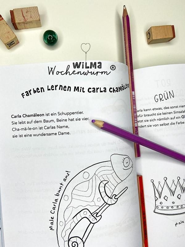 Lerngeschichten mit Wilma Wochenwurm das wurmstarke Vorschulbuch Farben lernen Carla Chamäleon Kindergarten Kita Susanne Bohne