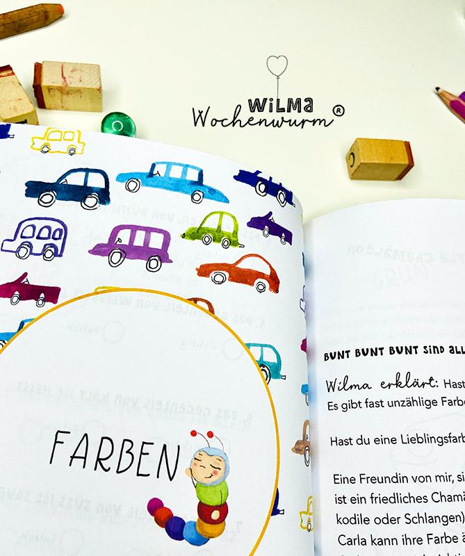 Lerngeschichten mit Wilma Wochenwurm das wurmstarke Vorschulbuch Farben lernen Kindergarten Kita Susanne Bohne