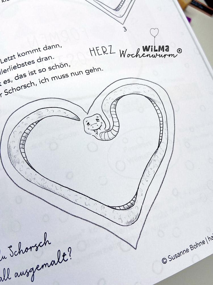 Lerngeschichten mit Wilma Wochenwurm das wurmstarke Vorschulbuch Formen lernen Schlange Schorsch Susanne Bohne