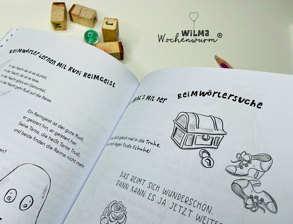 Lerngeschichten mit Wilma Wochenwurm das wurmstarke Vorschulbuch Reimwörter Reimen Rudi Reimgeist Susanne Bohne