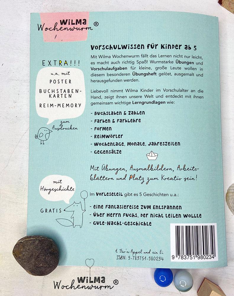 Lerngeschichten mit Wilma Wochenwurm das wurmstarke Vorschulbuch Rückseite Klappentext Susanne Bohne