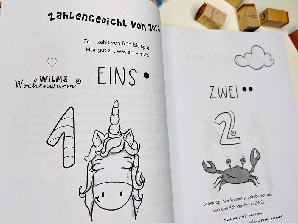 Lerngeschichten mit Wilma Wochenwurm das wurmstarke Vorschulbuch Zahlen lernen Kita Kindergarten Grunschule Susanne Bohne