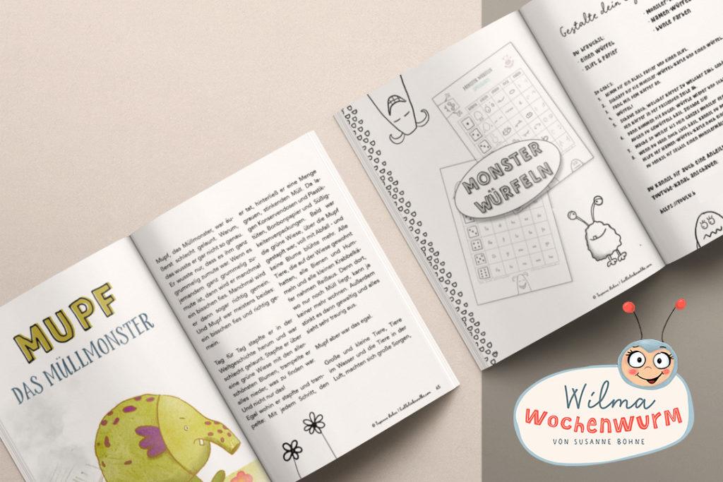 Mupf das Müllmonster Wilma Wochenwurm Sommerbuch Sommer Umweltschutz Kinder Kita Kindergarten Vorschule Grundschule