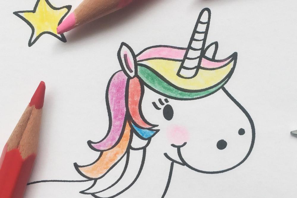 Printable-Malvorlage-Ausmalbild-DIY-Kind-Kleinkind-Kindergarten-KITA-Mädchen-Prinzessin-Einhorn-Freebie-Wolke-Regenbogen-Märchen