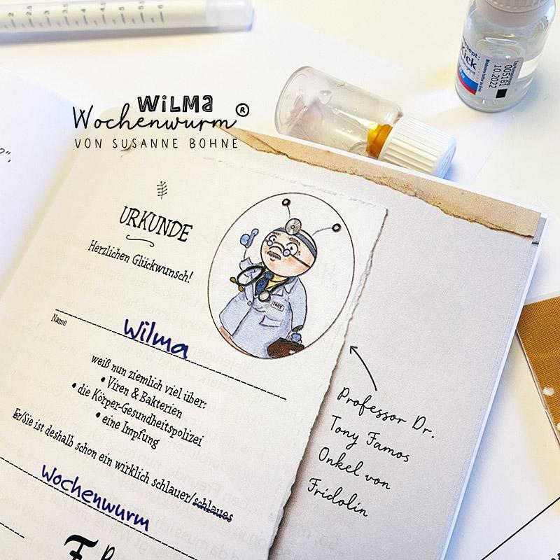 Urkunde Kind Gesundheit Forscher Viren Virus Bakterien Bakterium Kindergarten Impfen Impfung Wilma Wochenwurm Kinderbuch vorlesen Was ist