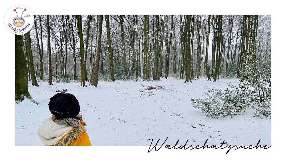 Waldschatzsuche für Kinder im Winter Vorlage PDF kostenlos von Wilma Wochenwurm (c) Susanne Bohne