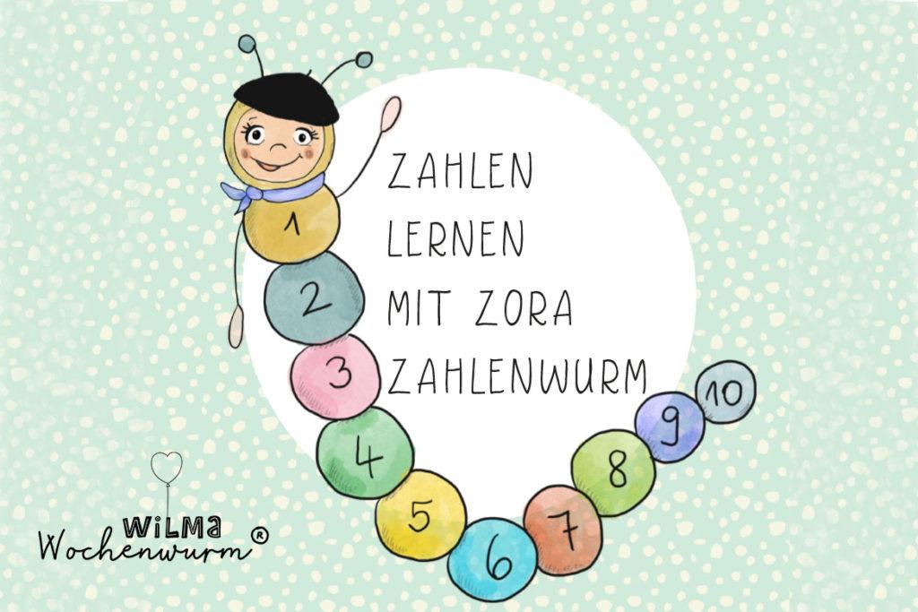 Wilma Wochenwurm Zahlen lernen bis 10 Kindergarten Kind Kleinkin