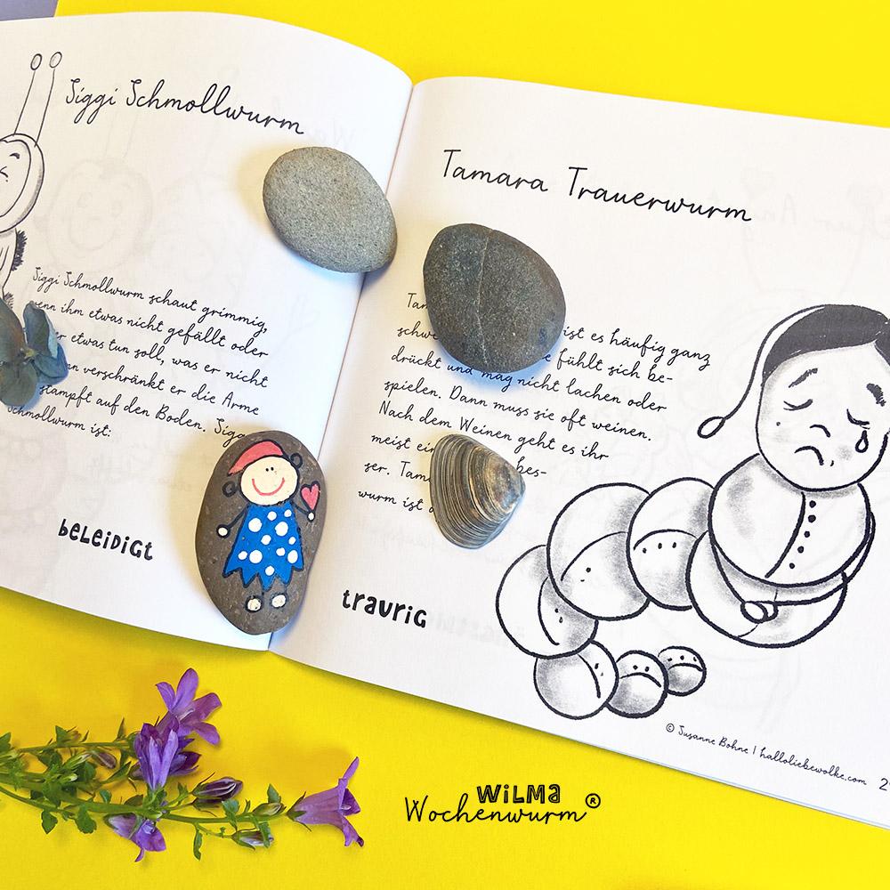 Gefühlswürmer Wilma Wochenwurm Gefühle Kinder erklären Gefühlsuhr Emotionen Trotz Wut Kind Kleinkind