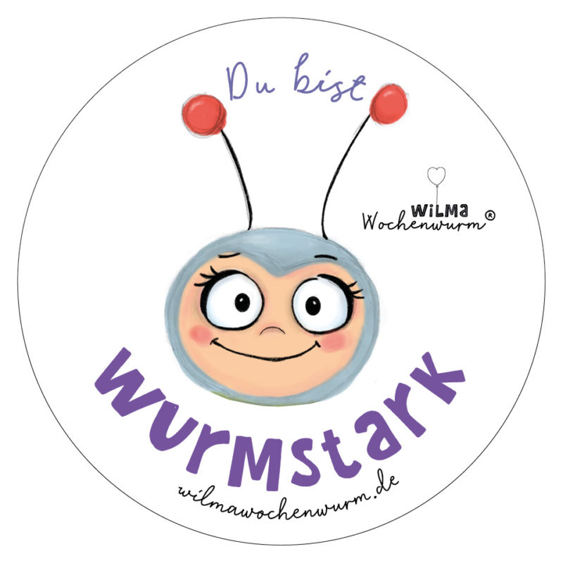 Wilma Wochenwurm wurmstarker Aufkleber Badge