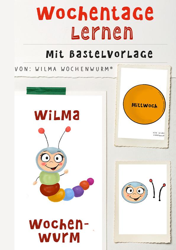 Wochentage lernen mit Wilma Wochenwurm Bastelvorlage von Susanne Bohne