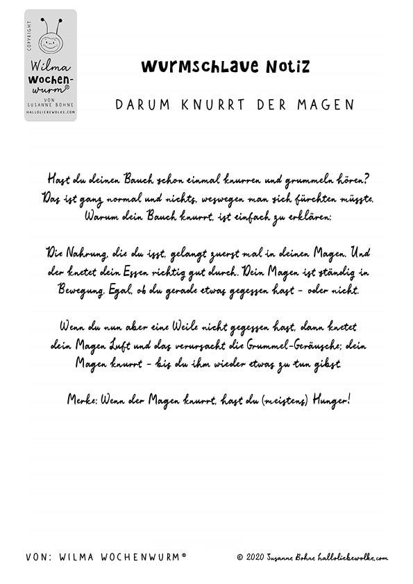 Wurmschlaue Notiz -Darum knurrt der Magen - von Susanne Bohne