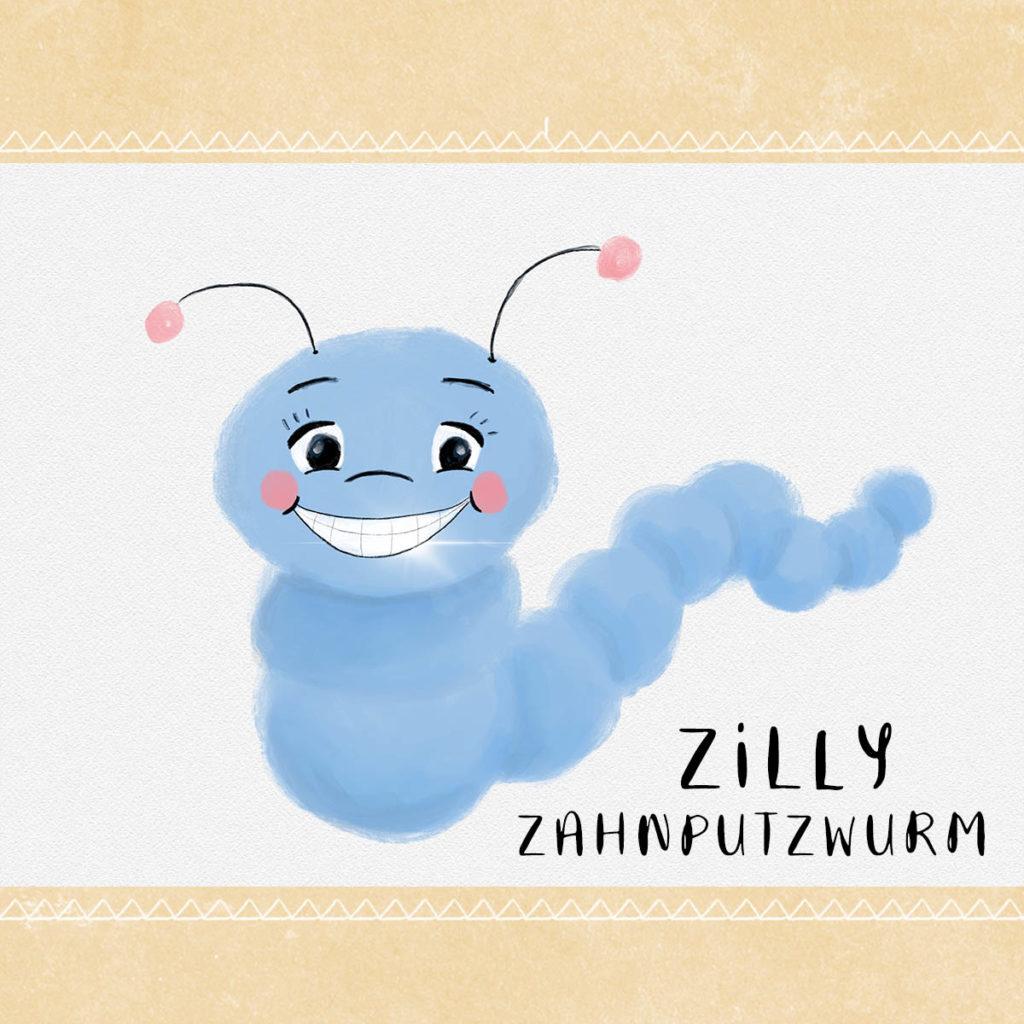 Zähne putzen mit Zilly Zahnputzwurm - Hallo liebe Wolke - Wilma Wochenwurm