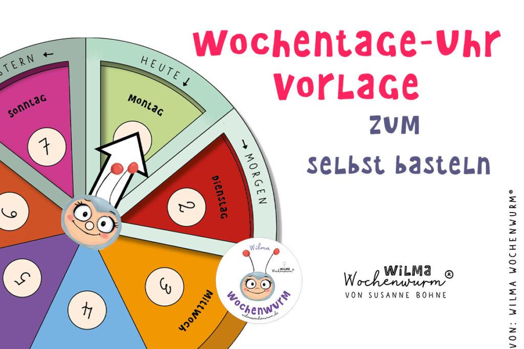 diy wochentage uhr für Kinder selber basteln Wochenkreis Montessori Wilma Wochenwurm Wochentageuhr Kita Kindergarten Grundschule Kalender